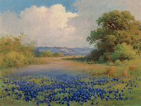 Manner of Robert William Wood (American, 1889-1979) Bluebonnets Oil on canvas 12 x 16 inches (30