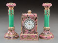 Decorative Arts, Continental, A Three-Piece 14K Vari-Color Gold, Diamond, Rhodonite, GuillocheEnamel, Seed Pearl, and Cabochon-Mounted Clock Garniture in ...