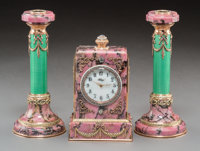 A Three-Piece 14K Vari-Color Gold, Diamond, Rhodonite, Guilloche Enamel, Seed Pearl, and Cabochon-Mounted Clock Garnitur...