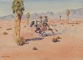 Fine Art - Painting, American, Leonard Howard Reedy (American, 1899-1956). Desert Riders.Watercolor on paper. 8 x 11-1/4 inches (20.3 x 28.6 cm) (sigh...