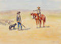 Works on Paper, Leonard Howard Reedy (American, 1899-1956). Cattleman and Sheepherder. Watercolor on paper. 8 x 11-1/4 inches (20.3 x 28...