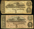 Confederate Notes, Two $5 Confederate Notes.. ... (Total: 2 notes)