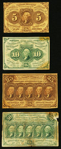 Fractional Currency, Fr. 1230 5¢ First Issue About New;. Fr. 1242 10¢ First Issue About New;. Fr. 1281 25¢ First Issue Extremely Fine;. ... (Total: 4 notes)