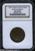 Colonials: , 1789 TOKEN Mott Token, Thick Planchet, Plain Edge MS62 Brown NGC.Breen-1020. This charming chocolate-brown example has a s...