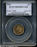Proof Indian Cents: , 1895 1C PR65 Red Cameo PCGS. This is a splendid Gem Proof example with fully brilliant red mint color and excellent cameo c...