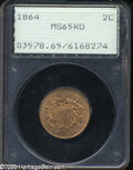 Two Cent Pieces: , 1864 2C Large Motto MS65 Red PCGS. A well struck orange-gold firstyear Gem. Splendidly preserved, nearly void of contact o...