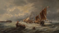 Fine Art - Painting, American, F. Mazzetta (19th Century). Rescue At Sea, 1828. Oil oncanvas. 24 x 42-1/4 inches (61.0 x 107.3 cm). Signed and dated l...