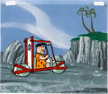 Animation Art:Production Cel, The Flintstones First Season Title Sequence Fred FlintstoneProduction Cel and Painted Background (Hanna-Barbera, 1960...(Total: 2 Items)