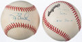 Autographs:Baseballs, Jack and Joe Buck Single Signed Baseball Pair. . ...
