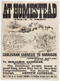 Political:Posters & Broadsides (pre-1896), [Benjamin Harrison]: Unique and Outrageous Homestead Strike Broadside....