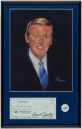 Autographs:Photos, Vin Scully Signed Check Display.. ...