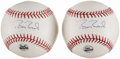 Autographs:Baseballs, Barry Bonds Single Signed Baseball Lot of 2.. ...