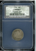 Early Dimes: , 1796 10C Fine Details, Damaged, Bent, NCS. JR-2, R.4. The designfrom a Shield Nickel is incused into the piece, after it l...