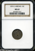 Seated Dimes: , 1874-S 10C Arrows MS62 NGC. A deep layer of original toning blankets both sides of this sharply struck example. The underly...