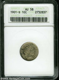 Barber Dimes: , 1901-S 10C AU58 ANACS. Smooth surfaces exhibit light gray patina with splashes of sky-blue and golden brown on the obverse,...