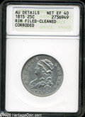 Bust Quarters: , 1815 25C--Rim Filed, Cleaned, Corroded--ANACS. AU Details, Net XF40. B-1, R.1. Light pewter surfaces with minor roughness a...