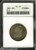 Bust Quarters: , 1821 25C XF45 ANACS. B-4, R.2. A bright and bold olive-gold example. All legends are sharp, and traces of luster are retain...