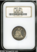 Proof Seated Quarters: , 1877 25C PR65 NGC. This lovely proof, one of 510 pieces minted,displays lavender and cobalt-blue peripheral toning, which ...