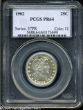Proof Barber Quarters: , 1902 25C PR64 PCGS. A sharply struck Proof with brilliant silver surfaces and pale champagne toning on the reverse. This is...