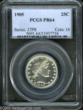 Proof Barber Quarters: , 1905 25C PR64 PCGS. A lovely Choice Proof example with brilliant silver surfaces and strong design elements. Few proofs fro...