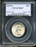Washington Quarters: , 1939-D 25C MS67 PCGS. Fully lustrous surfaces reveal a thin coatingof gold-beige and ice-blue patination, overlain with a ...