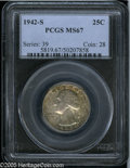 Washington Quarters: , 1942-S 25C MS67 PCGS. Exceptionally clean for the grade withfantastic luster and frosty surfaces. An array of pleasant mul...