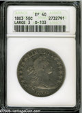 Early Half Dollars: , 1803 50C Large 3 XF40 ANACS. O-103, R.3. A splendidly detailedsteel-gray Draped Bust Half Dollar. The strike is sharp asid...