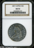 Bust Half Dollars: , 1807 50C Capped Bust, Large Stars AU53 NGC. O-114, R.3. The devicesexhibit blushes of honey color, but this bright example...