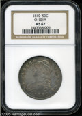 Bust Half Dollars: , 1810 50C MS62 NGC. O-101a, R.1. Mottled russet and electric-bluepatina enriches this satiny and undisturbed Half Dollar. L...