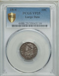 Bust Dimes, 1814 10C Large Date VF25 PCGS Secure. PCGS Population: (12/183 and0/3+). NGC Census: (2/135 and 0/1+). Mintage 421,500. ...