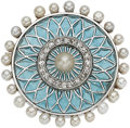 Estate Jewelry:Brooches - Pins, Diamond, Seed Pearl, Plique-à-Jour Enamel, Platinum-Topped Gold Brooch, circa 1900. ...