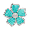 Estate Jewelry:Brooches - Pins, Diamond, Turquoise, White Gold Pendant-Brooch. ...
