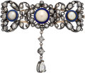Estate Jewelry:Brooches - Pins, Antique Diamond, Half Pearl, Enamel, Silver-Topped Gold Brooch. ...