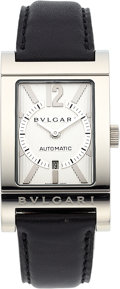 Estate Jewelry:Watches, Bvlgari Gentleman's Stainless Steel Rettangolo Watch. ...