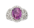 Estate Jewelry:Rings, Pink-Purple Sapphire, Diamond, White Gold Ring . ...