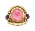 Estate Jewelry:Rings, Pink Tourmaline, Amethyst, Gold Ring, Denise Roberge . ...
