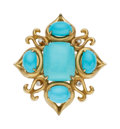 Estate Jewelry:Rings, Turquoise, Diamond, Gold Ring, Donald Huber. ...