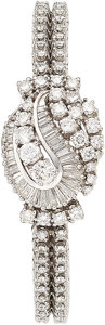 Estate Jewelry:Watches, Hamilton Lady's Diamond, White Gold Covered Dial Watch. ...
