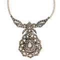 Estate Jewelry:Necklaces, Diamond, Silver-Topped Gold, Gold Necklace. ...