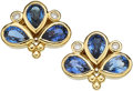 Estate Jewelry:Earrings, Sapphire, Diamond, Gold Earrings, Temple St. Clair. ...