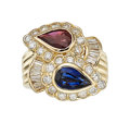 Estate Jewelry:Rings, Ruby, Sapphire, Diamond, Gold Ring. ...