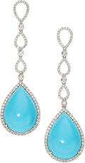 Estate Jewelry:Earrings, Turquoise, Diamond, White Gold Earrings. ...