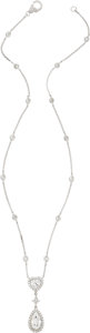 Estate Jewelry:Necklaces, Diamond, White Gold Necklace, Assil. ...