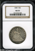 Seated Half Dollars: , 1848 50C AU55 NGC. WB-101. Well struck with lovely purple-russetand sea-green color near selected peripheral regions. Ligh...