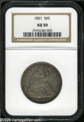 """Seated Half Dollars: , 1851 50C AU50 NGC. WB-101. Normal Date. Mechanical doubling or""""shelf"""" doubling is seen on the date. Well struck, except on..."""