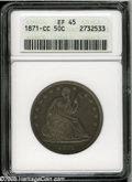 Seated Half Dollars: , 1871-CC 50C XF45 ANACS. Second year of issue for the Carson CityHalf Dollars, struck soon after that facility first opened...