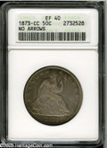 Seated Half Dollars: , 1873-CC 50C No Arrows XF40 ANACS. Many of the 122,500 No ArrowsHalf Dollars produced by the Carson City Mint in 1873 are b...