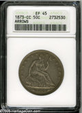 Seated Half Dollars: , 1873-CC 50C Arrows XF45 ANACS. The popularity of this issue stemsfrom two factors. First, only 214,500 pieces were origina...