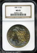 Morgan Dollars: , 1881-S S$1 MS65 NGC. A horizontal band of bright gold color on theobverse has ivory below and sea-green above. The reverse...
