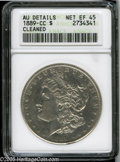 Morgan Dollars: , 1889-CC S$1--Cleaned--ANACS. AU Details, Net XF45. An attractiverepresentative of this key-date issue with light pewter-gr...